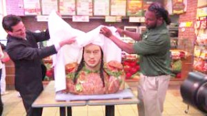 Video of Jarvis Jones talking about his  bust made by Jim Victor Food Sculpture  for Subway